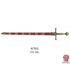 Leggendaria spada Excalibur di Re Artù fodero rosso