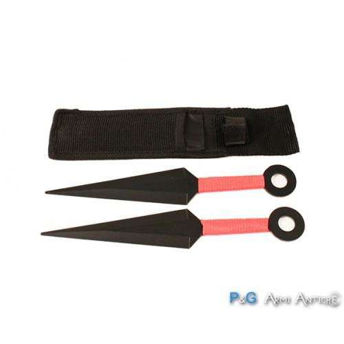 Kunai neri manico rosso Set da 2 pezzi